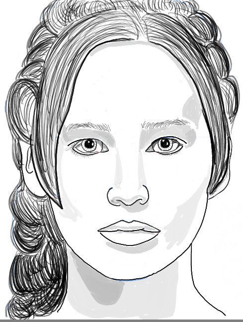How to Draw Katniss Everdeen from The Hunger Games - aka Jennifer Lawrence