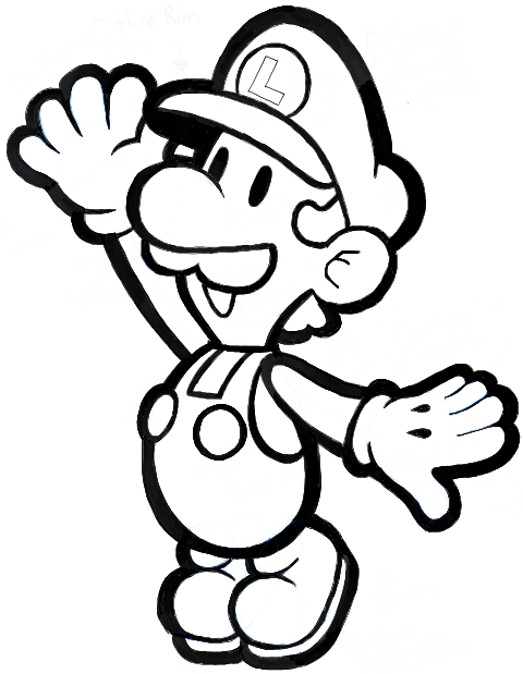 How to Draw Paper Luigi from Paper Mario Step by Step Drawing