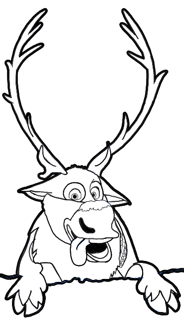 How to draw sven the reindeer from frozen step by step for Sven coloring pages