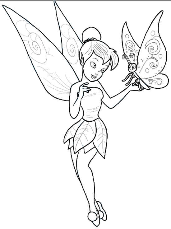 How To Draw Tinkerbell Holding A Butterfly With Easy To