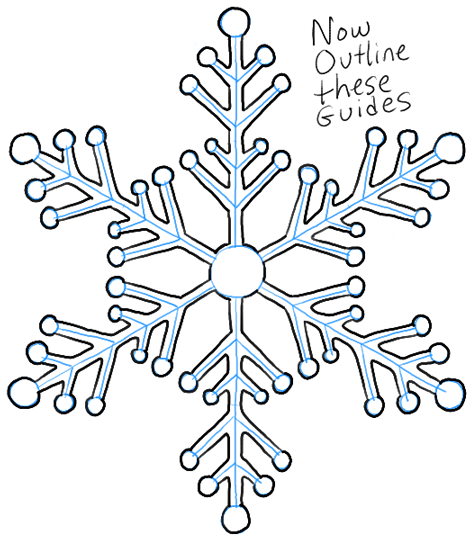 Simple Snowflake Line Art : How to draw snowflake with easy drawing lesson