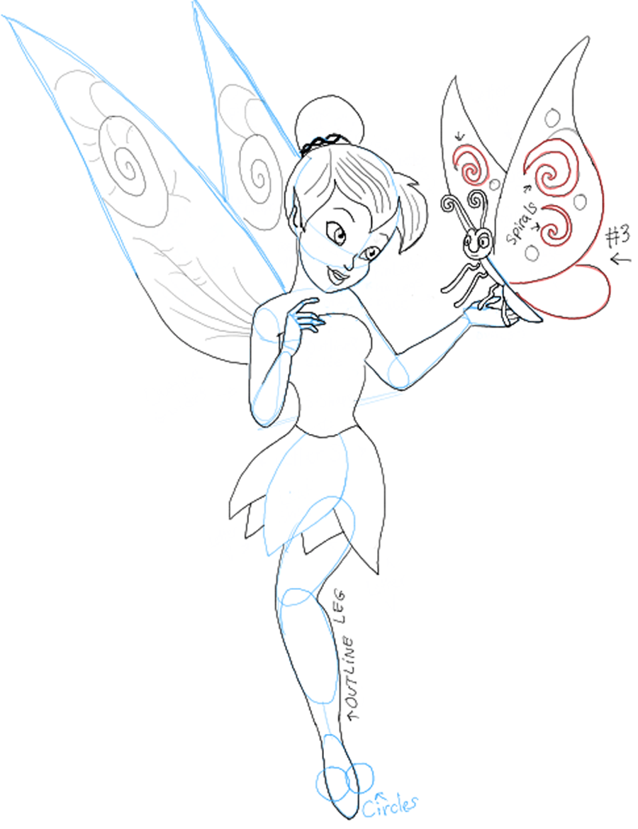 Uncategorized Drawing Of Tinkerbell how to draw tinkerbell holding a butterfly with easy follow step09 and butterfly