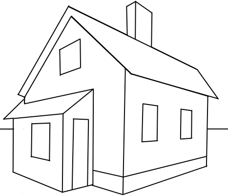 How to draw a house with easy 2 point perspective for How to make a house step by step