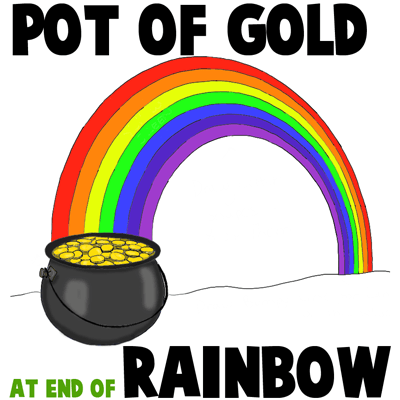 How to Draw a Pot of Gold at the End of a Rainbow in Easy Steps