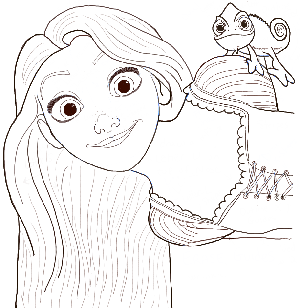 Finished Drawing of Rapunzel and Pascal the Chameleon
