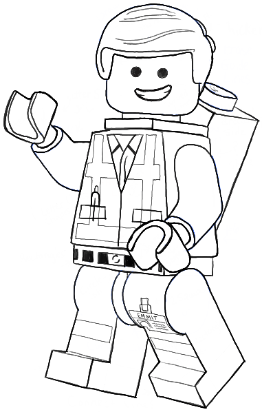 How to draw emmet from the lego movie and lego minifigures for Lego movie coloring pages