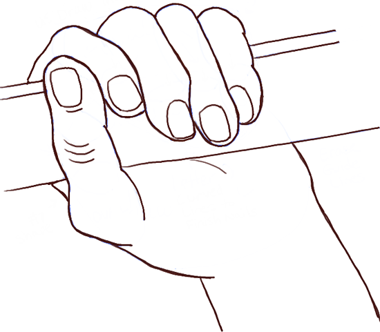Finished drawing of a hand gripping something