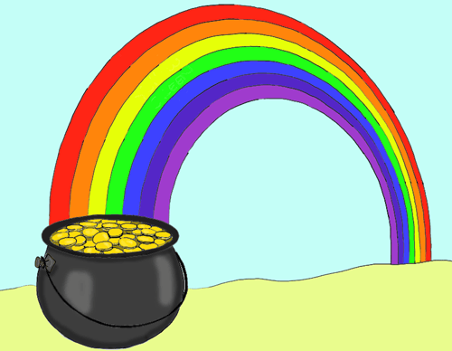 How To Draw A Pot Of Gold At The End Of A Rainbow In Easy