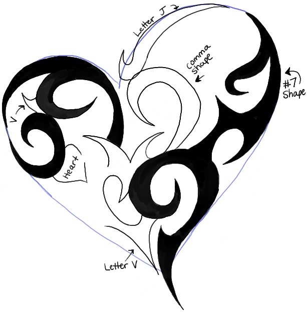 How To Draw A Tribal Heart Tattoo Design In Easy Steps