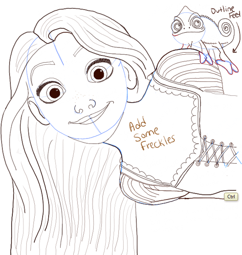 Drawing Lines In Photo : How to draw rapunzel and pascal from tangled with easy