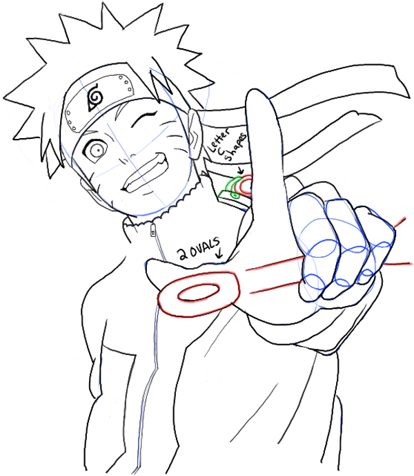 how to draw naruto whole body step by step
