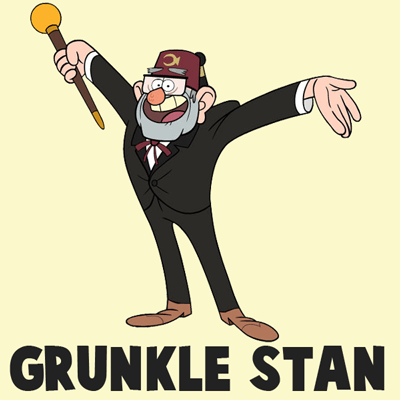 How to Draw Grunkle Stan from Gravity Falls with Easy Steps