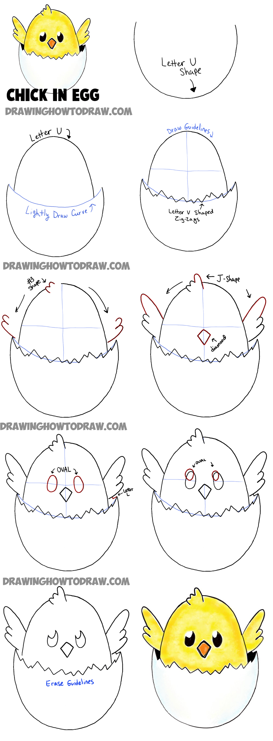 How To Draw Baby Cartoon Chicks Easy Tutorial For Kids