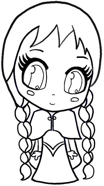 Finished Lined Drawing of Anna from Frozen