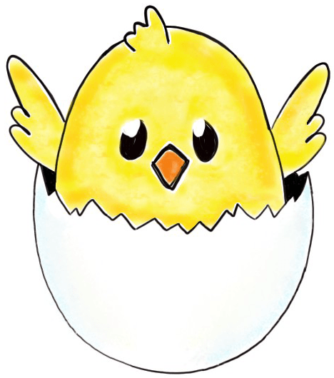 Finished Drawing of Baby Chick in Easter Egg