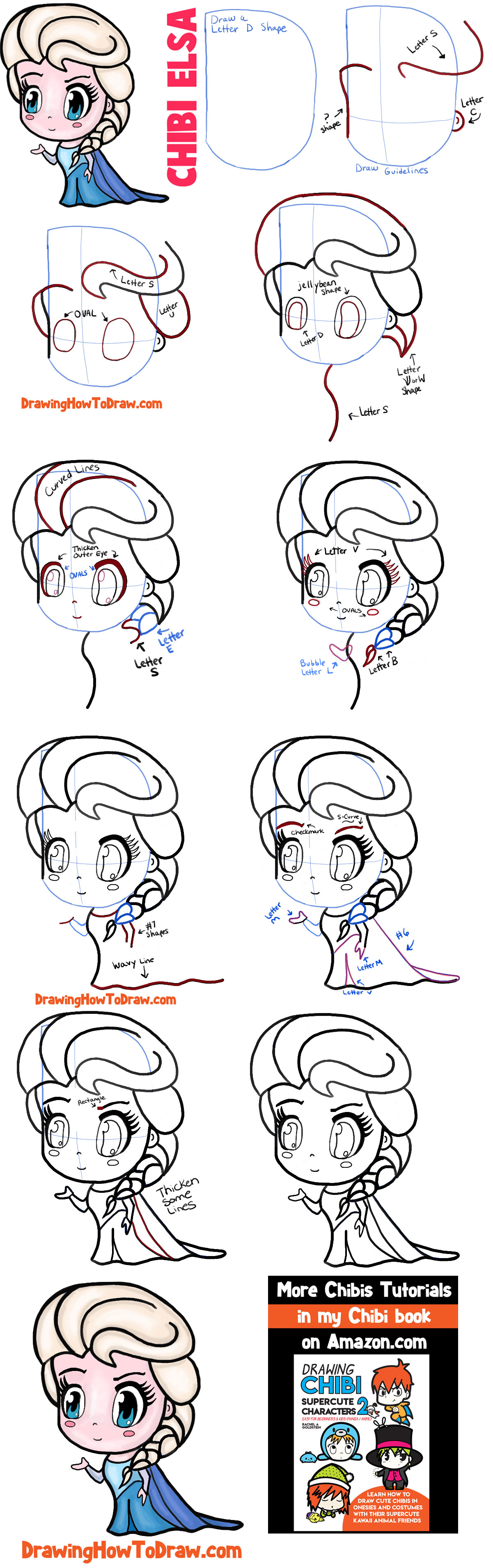 How to Draw Chibi Elsa Step by Step Drawing Tutorial