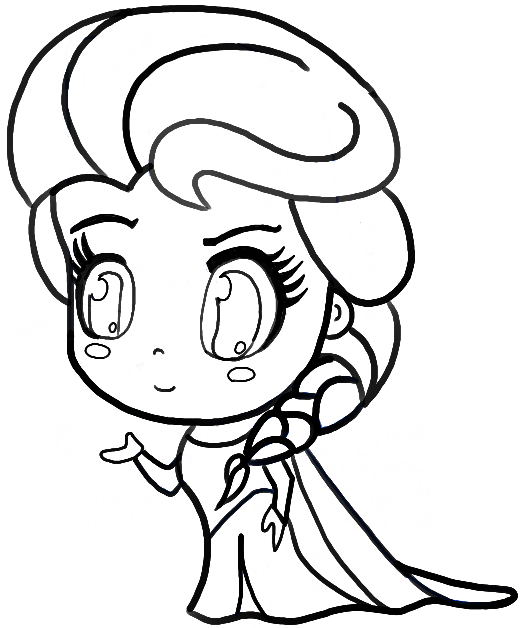 Finished chibi elsa black and white