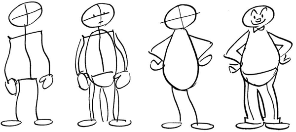 How to draw basic cartoon body shape