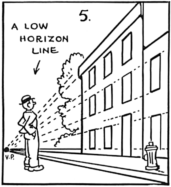 Drawing Using Horizon Lines : Perspective drawing in cartooning guide for cartooners