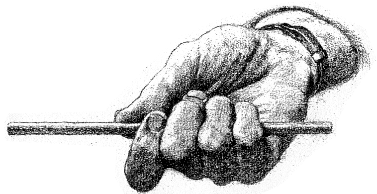 How to Draw a Hand Gripping a Pencil with fingers wrapped around it and thumb resting on the edge