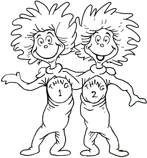 How to draw thing one and thing two from dr seuss the cat for Dr seuss character coloring pages