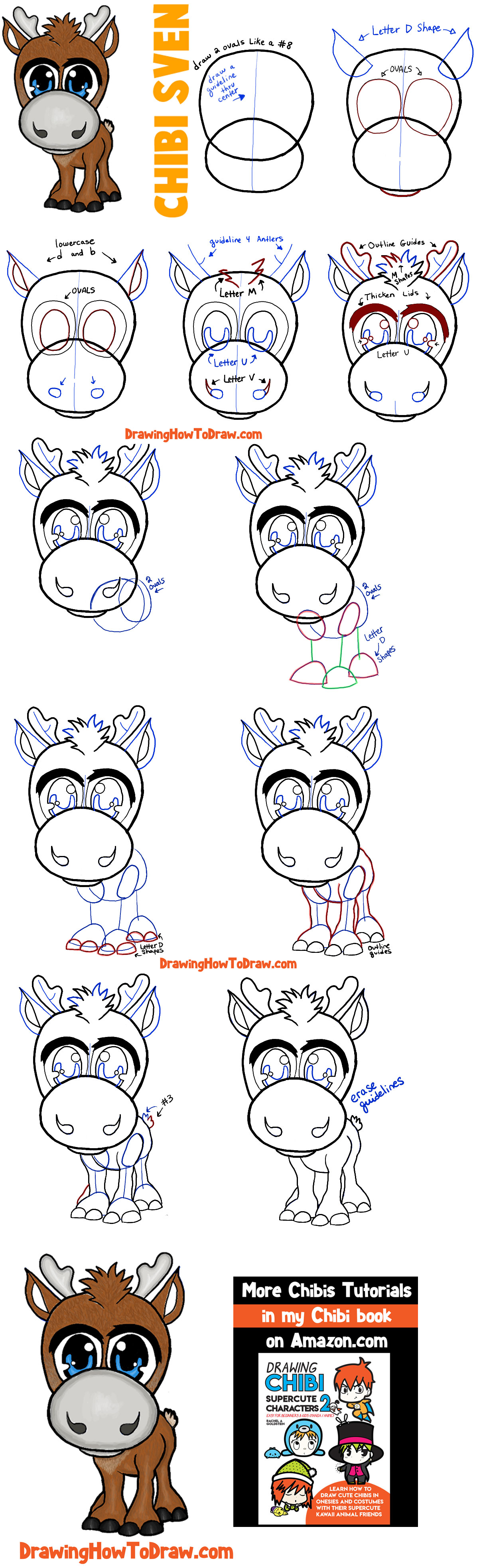 How to Draw Baby Chibi Sven from Frozen in Easy Steps Drawing Tutorial