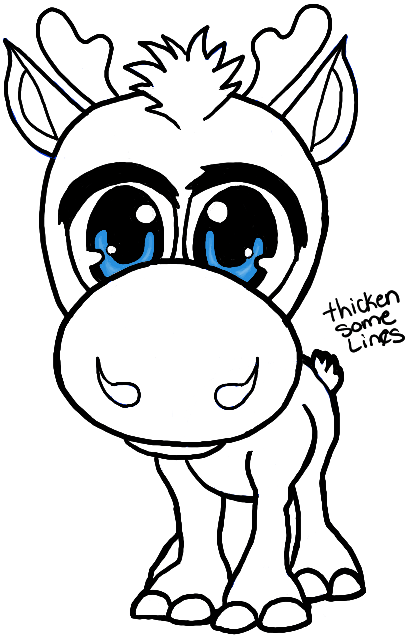 Finished Drawing of Baby Chibi Sven from Disnyes Frozen