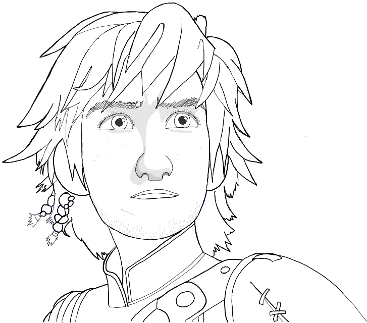 Black and White Line Drawing of Hiccup from How to Train Your Dragon 2