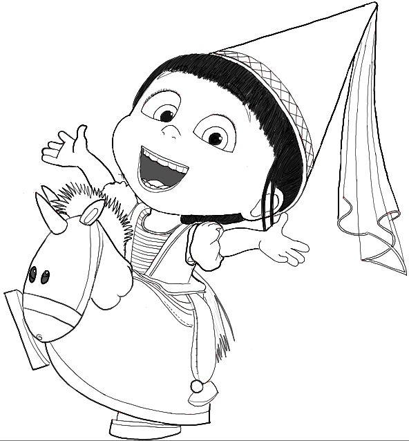 Finished Black and White Line Drawing of Agnes from Despicable Me