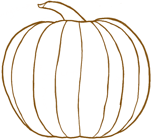 finished line drawing of a pumpkin for halloween or thanksgiving - Draw Halloween Pumpkin