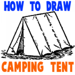 How to Draw Tents - Easy Step by Step Drawing Tutorial for Camping Gear