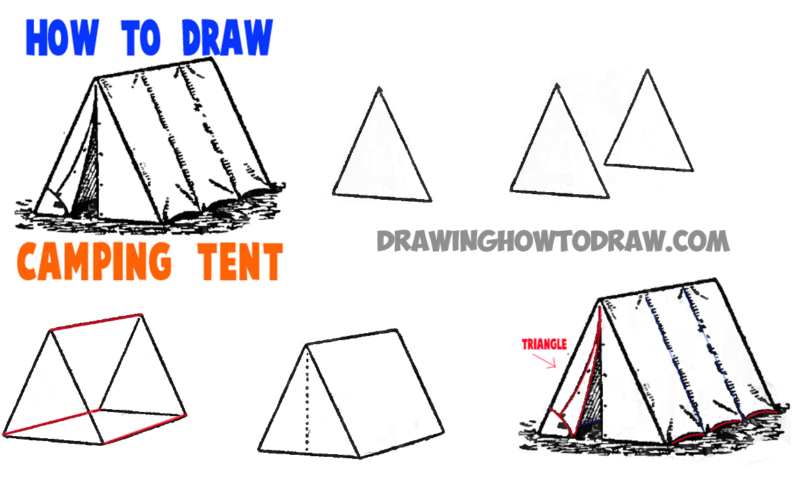how to draw a c&ing tent  sc 1 st  Drawing How to Draw & How to Draw Tents - Easy Step by Step Drawing Tutorial for Camping ...