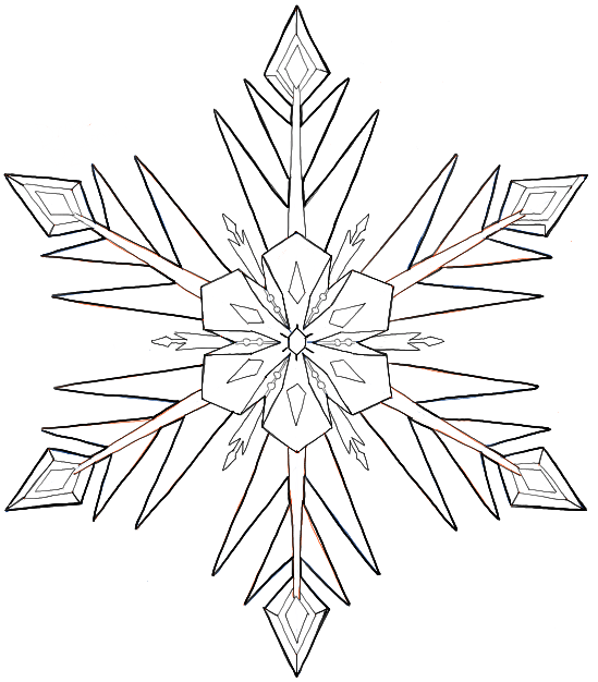 Finished Black and White Line Drawing of the Famous Snowflake from Disney's Frozen Movie