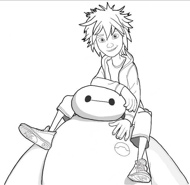Finished Black and White Line Drawing of Hiro and Baymax from Big Hero 6