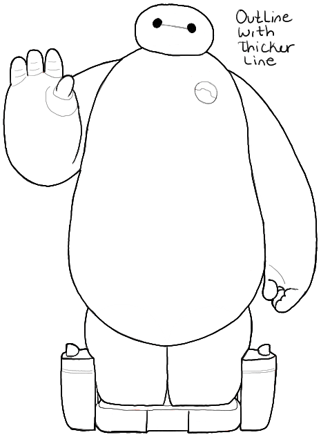 How To Draw Baymax From Big Hero 6 In Easy Step By Step Drawing