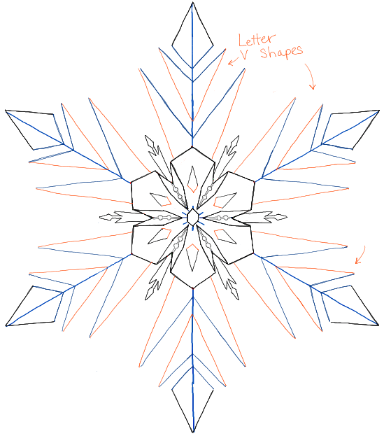 How to Draw Snowflakes from Disney Frozen Movie with Easy to Follow ...