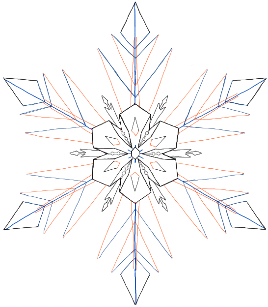 Simple Snowflake Line Art : How to draw snowflakes from disney frozen movie with easy