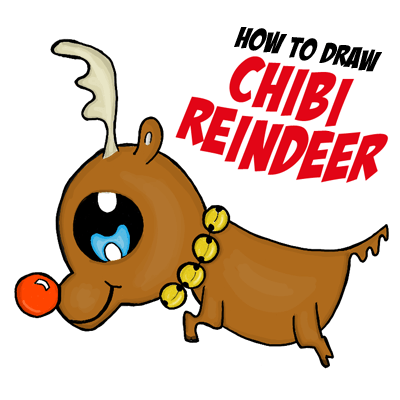 How to Draw a Chibi Reindeer or Baby Rudolph the Red Nosed Reindeer for Kids Drawing Tutorial