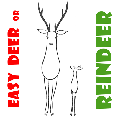 how to draw easy reindeer or deer for preschoolers and kids on christmas