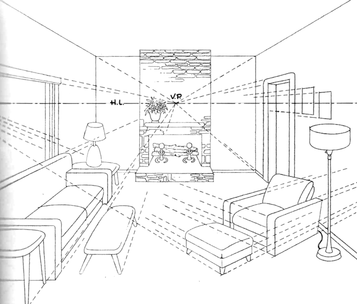 How To Draw A Room With Perspective Drawing Tutorial Of A