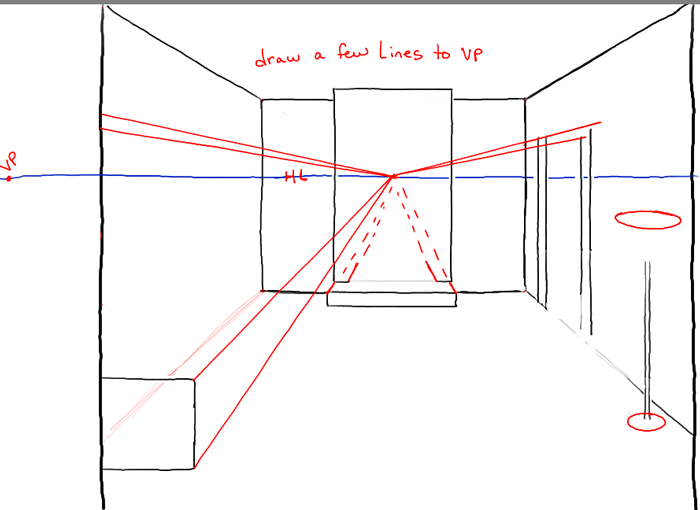 Step 4 Step04 Perspective Drawing Inside Of Living Room