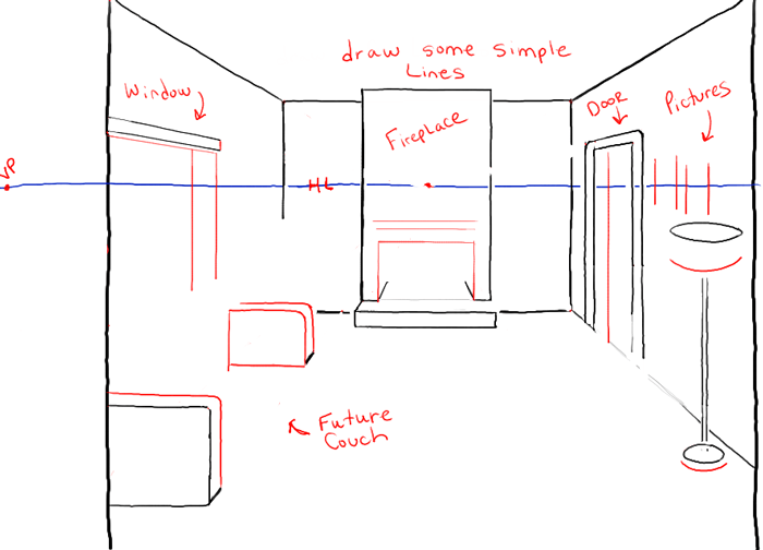 Step05 perspective drawing inside of living room