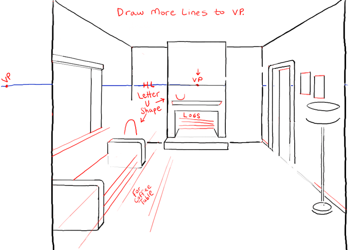 Step06 Perspective Drawing Inside Of Living Room