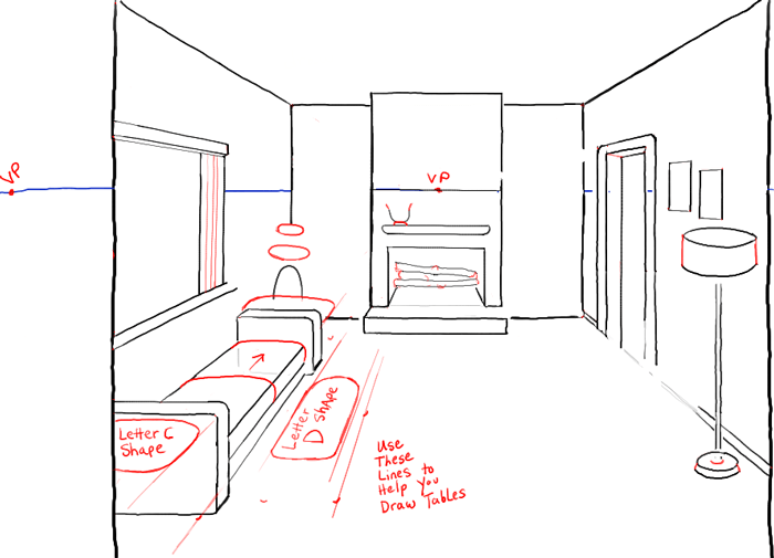 Step07 perspective drawing inside of living room