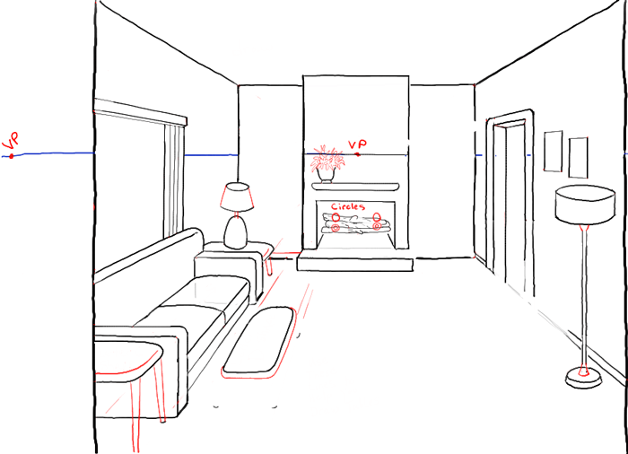 Step08 Perspective Drawing Inside Of Living Room