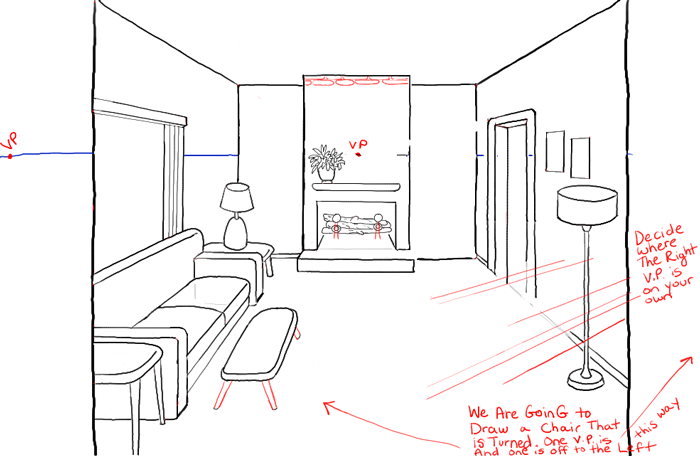 How to draw a room with perspective drawing tutorial of a - One point perspective drawing living room ...