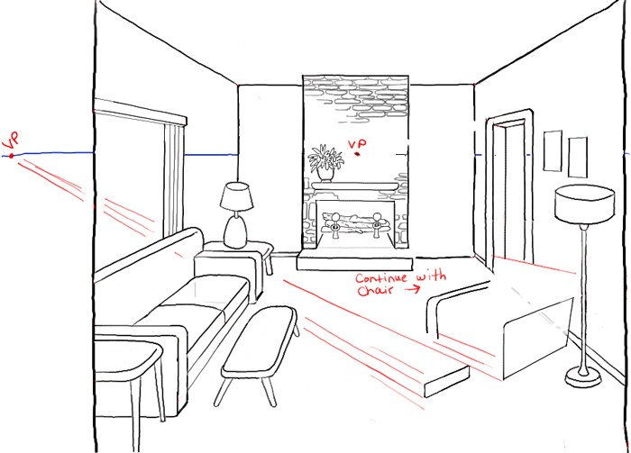 Step10 Perspective Drawing Inside Of Living Room