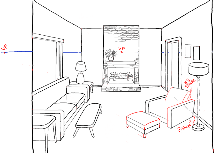 How to draw a room with perspective drawing tutorial of a for Simple drawing room images
