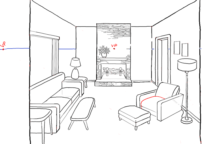 Line Drawing Room : How to draw a room with perspective drawing tutorial of