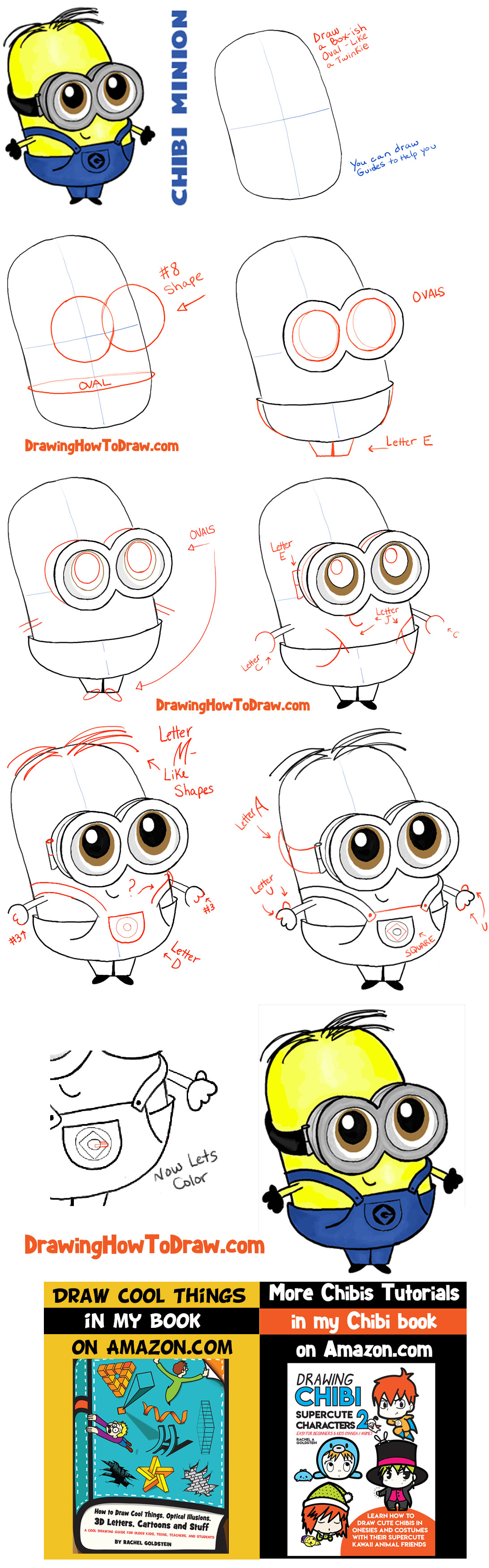 How to Draw Chibi Baby Minions with Easy Step by Step Drawing Tutorial